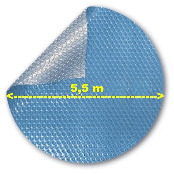 Solární bublinková plachta na bazén modrá kruh 5,5 m