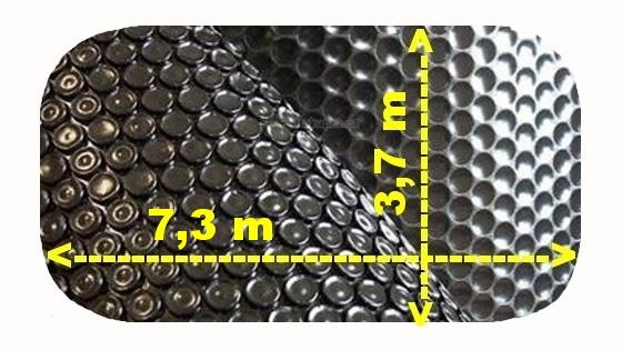 Solární plachta na bazén černá ovál 7,3 x 3,7 m